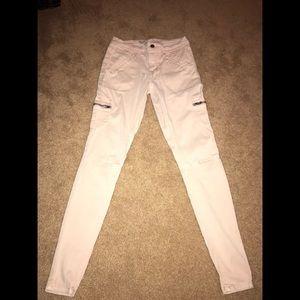 Light pink Zipper legging skinny jeans size 0 25